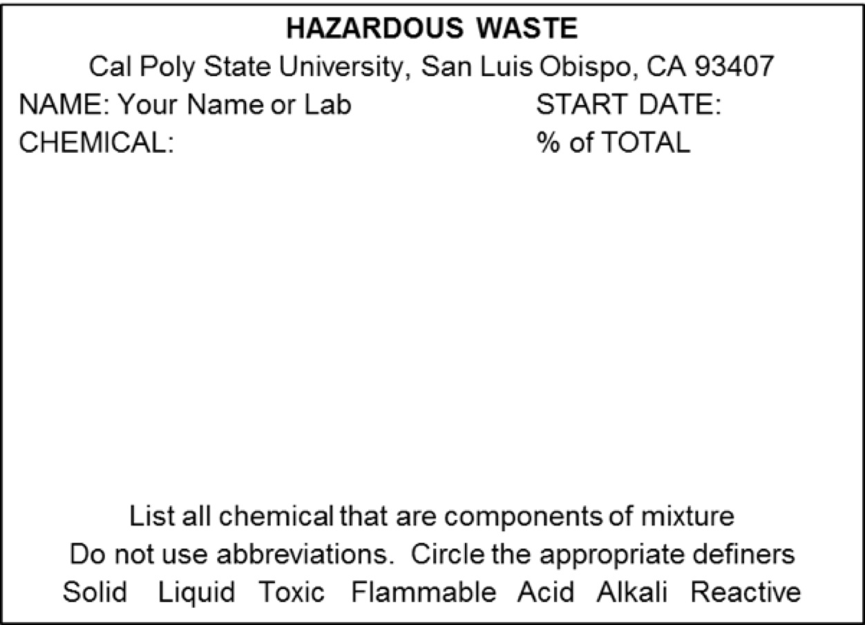 standard hazardous waste label