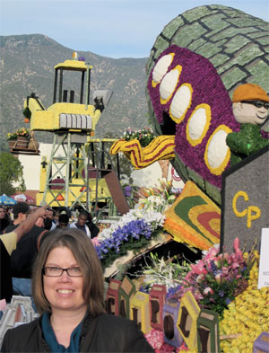 Prof. Clement with Cal Poly Rose Float in Pasadena