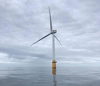 Large wind turbine in the ocean