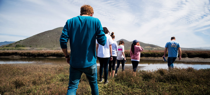 Students visiting the marshes