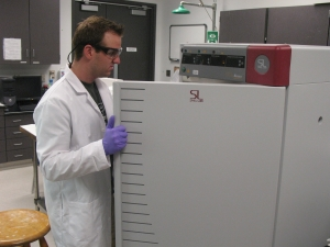 Student using lab equipment