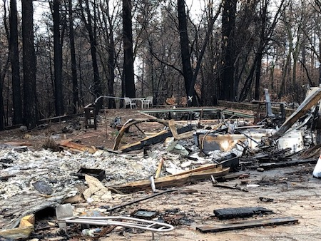 The backyard of a home devastated by the Camp Fire.
