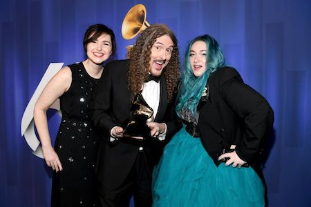 Annie Stoll, 'Weird Al' Yankovic and Meghan Foley pose with their award at the 61st Annual Grammys.