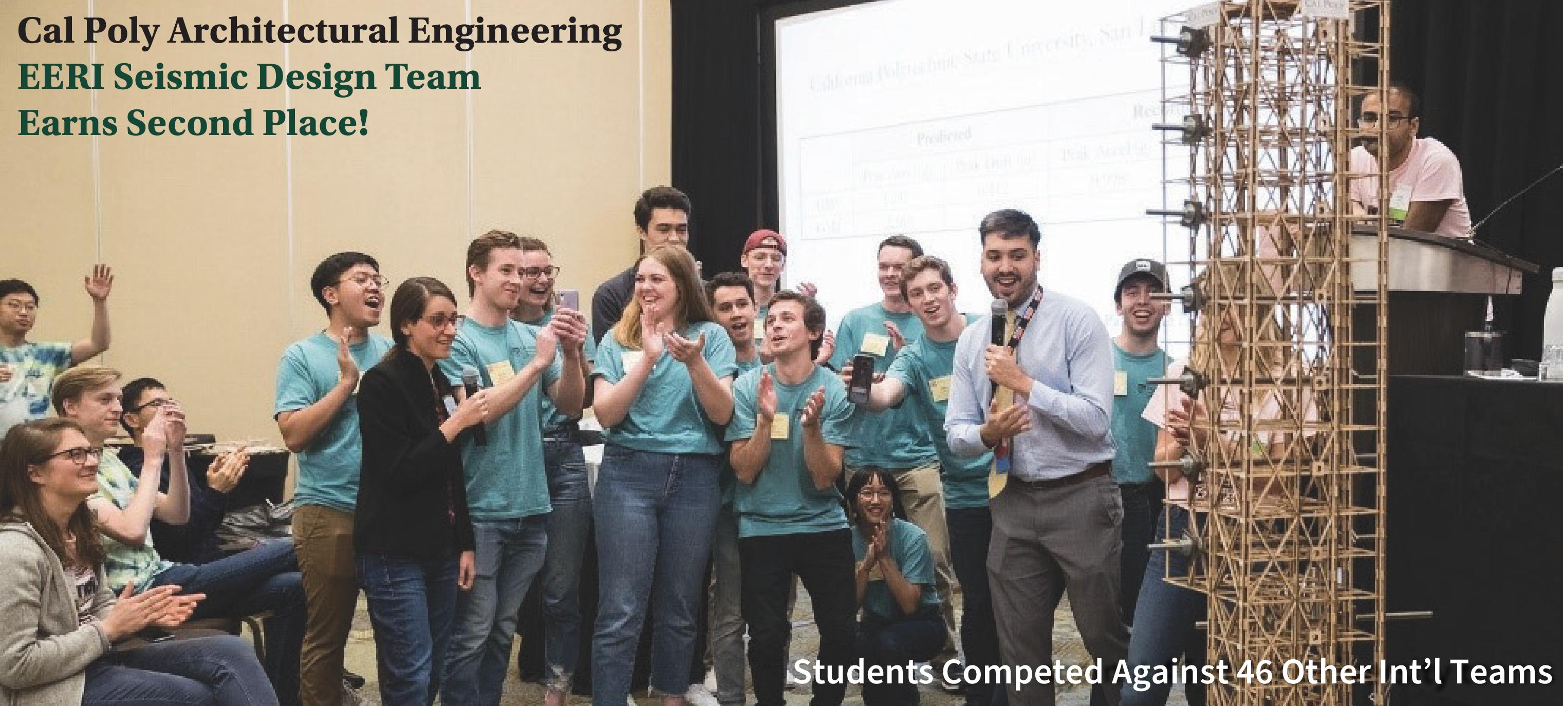 14 architectural engineering (ARCE) students placed second in the Earthquake Engineering Research Institute (EERI) Seismic Design Competition (SDC) in San Diego.