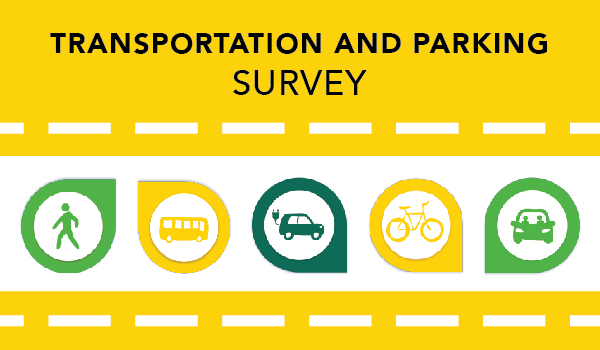 Image for the Transportation and Parking Services Survey, with icons showing different modes of transportation including walking, bus, electric vehicle, bicycle and car.
