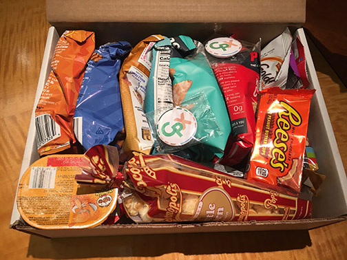 Photo of a snack pack that will be offered for clubs or organizations hosting a viewing party during the CPX Distinguished Speaker Series.
