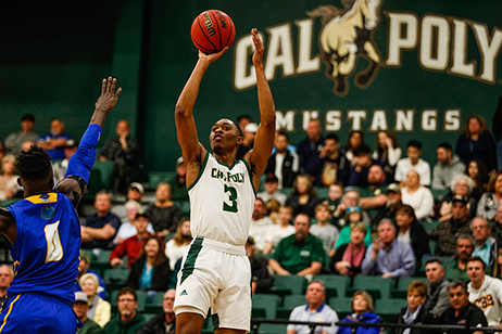 Photo of a Cal Poly basketball player from a recent game.