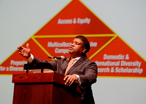 Damon A. Williams, pictured speaking at Cal Poly on Jan. 24, 2019.