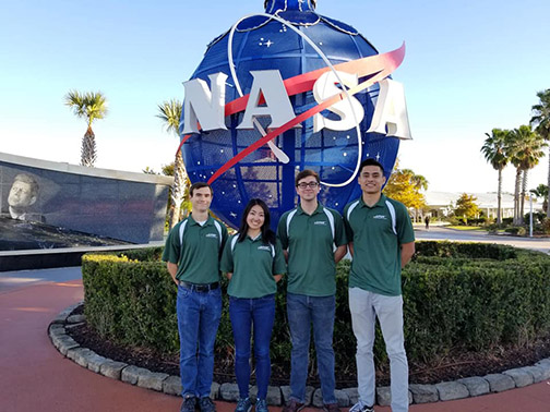 Members of Cal Poly Space Systems invited to the Alka-Rocket finals included aerospace students Miles Grove, Lauren Fukaye, Chris Larkin and Dylan Stewart.