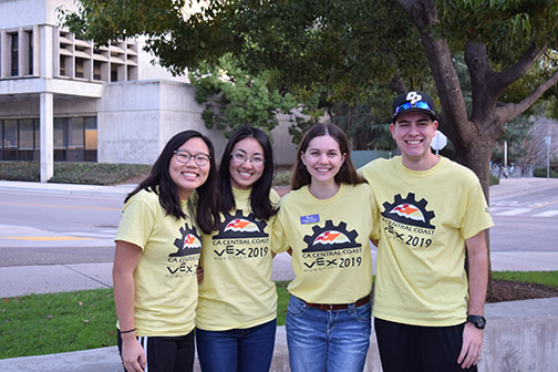 "Members of the Society of Women Engineers team who hosted the Central Coast VEX ""Turning Point"" tournament."