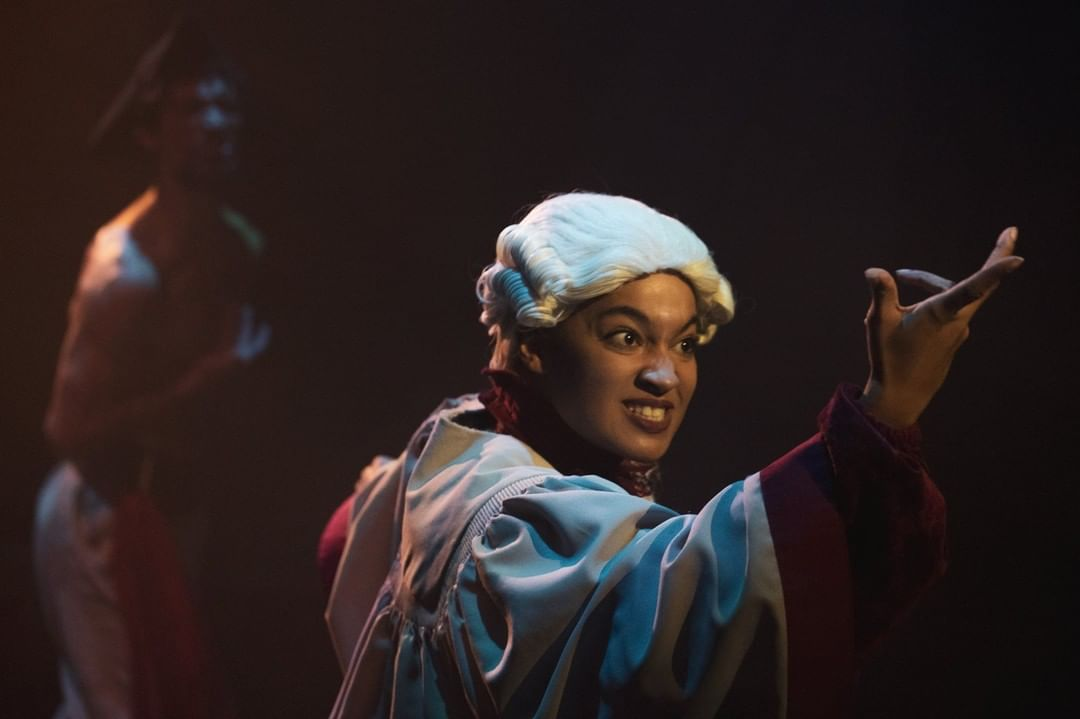 """Photo of a student at Cuesta College performing Cal Poly Lecturer Philip Valle's play """"Ghost Ship"""""""