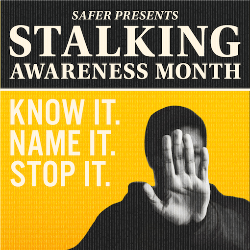 Know it. Name it. Stop it. With photo of a person holding their hand up in a stop motion.