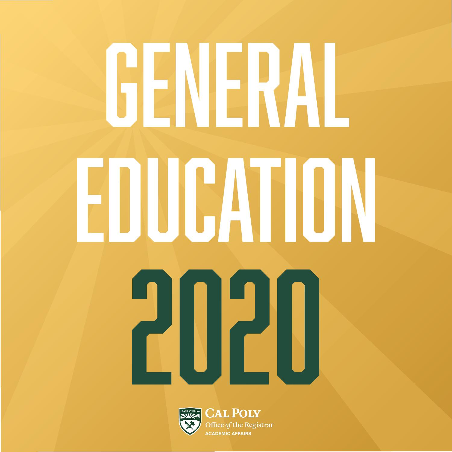 Gold box with text reading General Education 2020