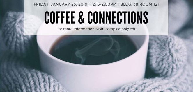 Photo of a cup of coffee with Coffee & Connections event information