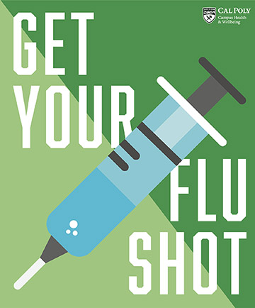 Illustration of a shot with text reading Get Your Flu Shot