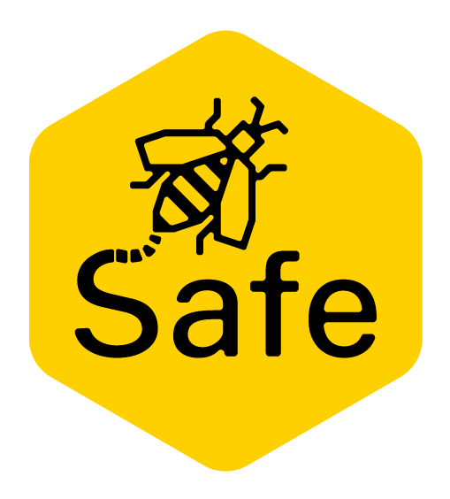 Graphic with a drawing of a bee and word Safe