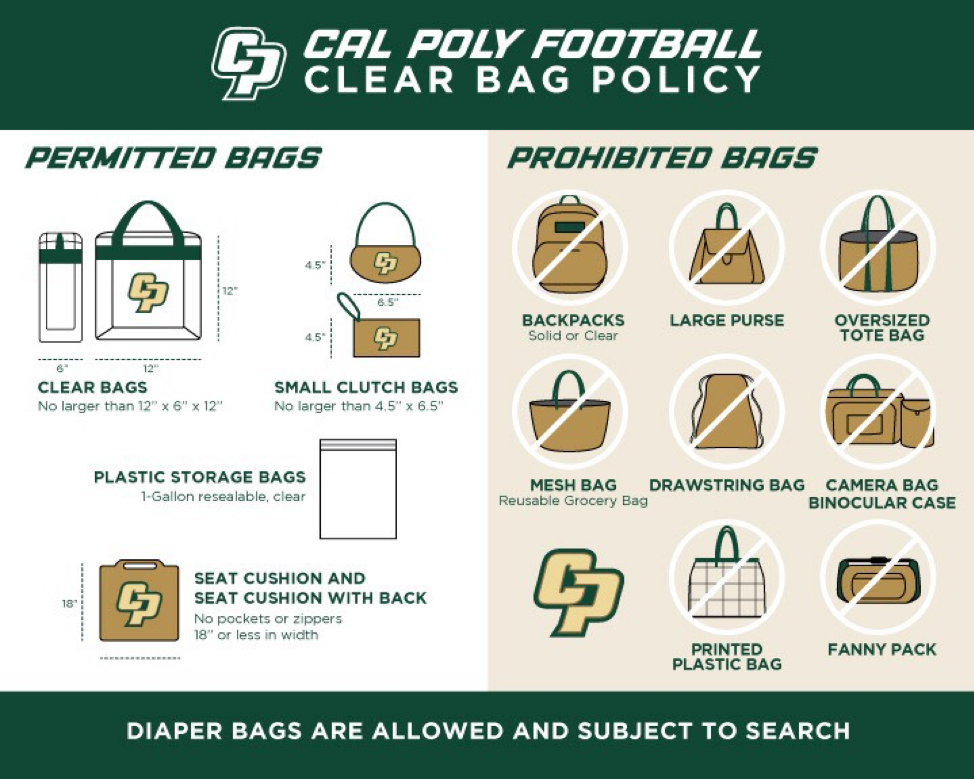 Graphic showing permitted and prohibited bags for Cal Poly Football's clear bag policy.