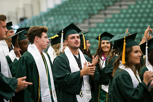 Several Cal Poly athletes photographed at last year's Commencement.