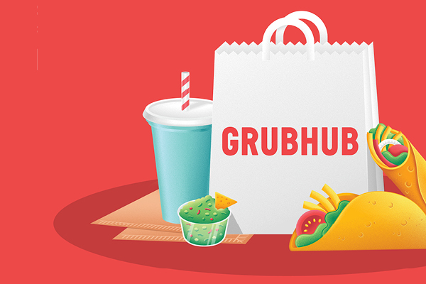 Illustration of tacos, a drink and a bag with Grubhub logo