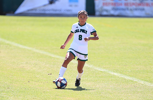 Photo of a Cal Poly women's soccer player on the field.