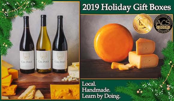 Photo of three Cal Poly wines and several cheeses