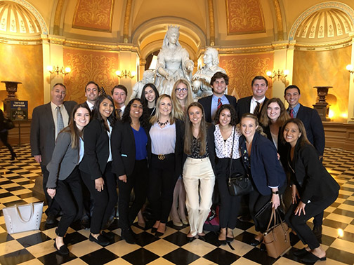 Cal Poly students pictured in the California State Capitol in Sacramento during a visit to lobby for their proposed legislation.