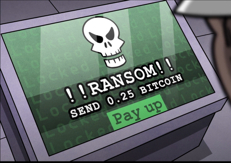 Illustration of a computer screen with a skull and text reading Ransom! Send 0.25 bitcoin Pay up