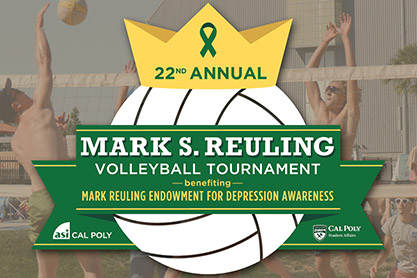 Image of a volleyball for the 22nd annual Mark S. Reuling Volleyball Tournament.