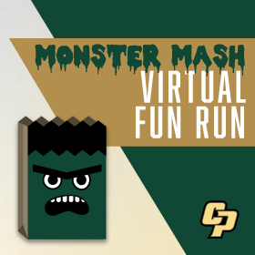 Monster face with text reading Monster Mash Virtual Fun Run