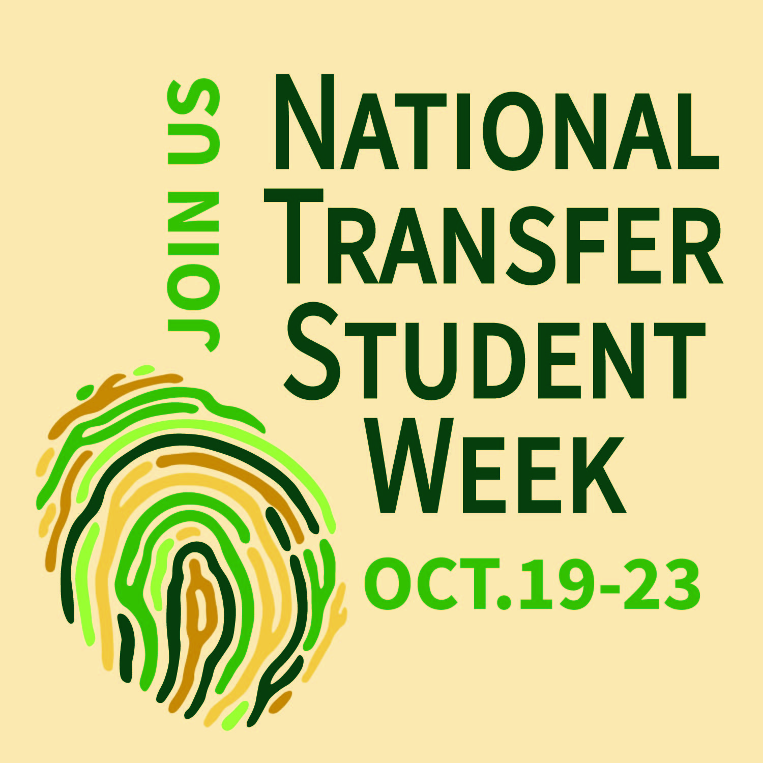 Illustration reading Join us National Transfer Student Week Oct. 19-23