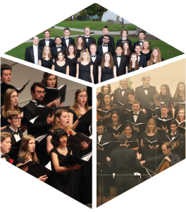 Image with three photos of three of Cal Poly's choral groups.