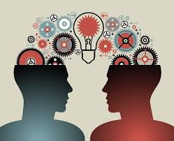 Illustration of two people having a brainstorm