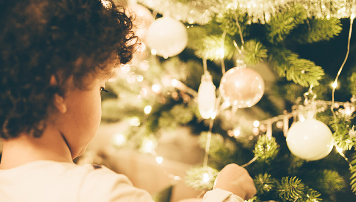 Photo of the back of a child's head looking at a decorated Christmas tree.