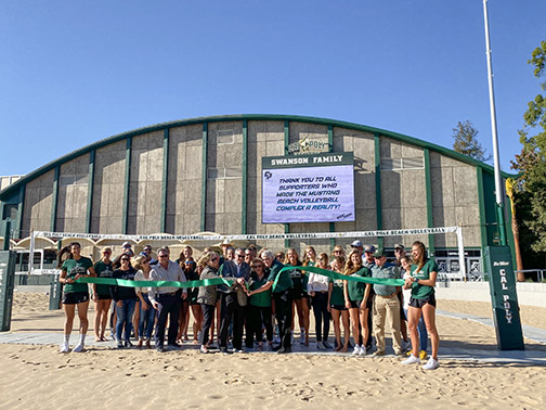 Cal Poly athletic department celebrates the unveiling of a new on-campus beach volleyball complex with a ribbon-cutting ceremony on Saturday, Nov. 16.