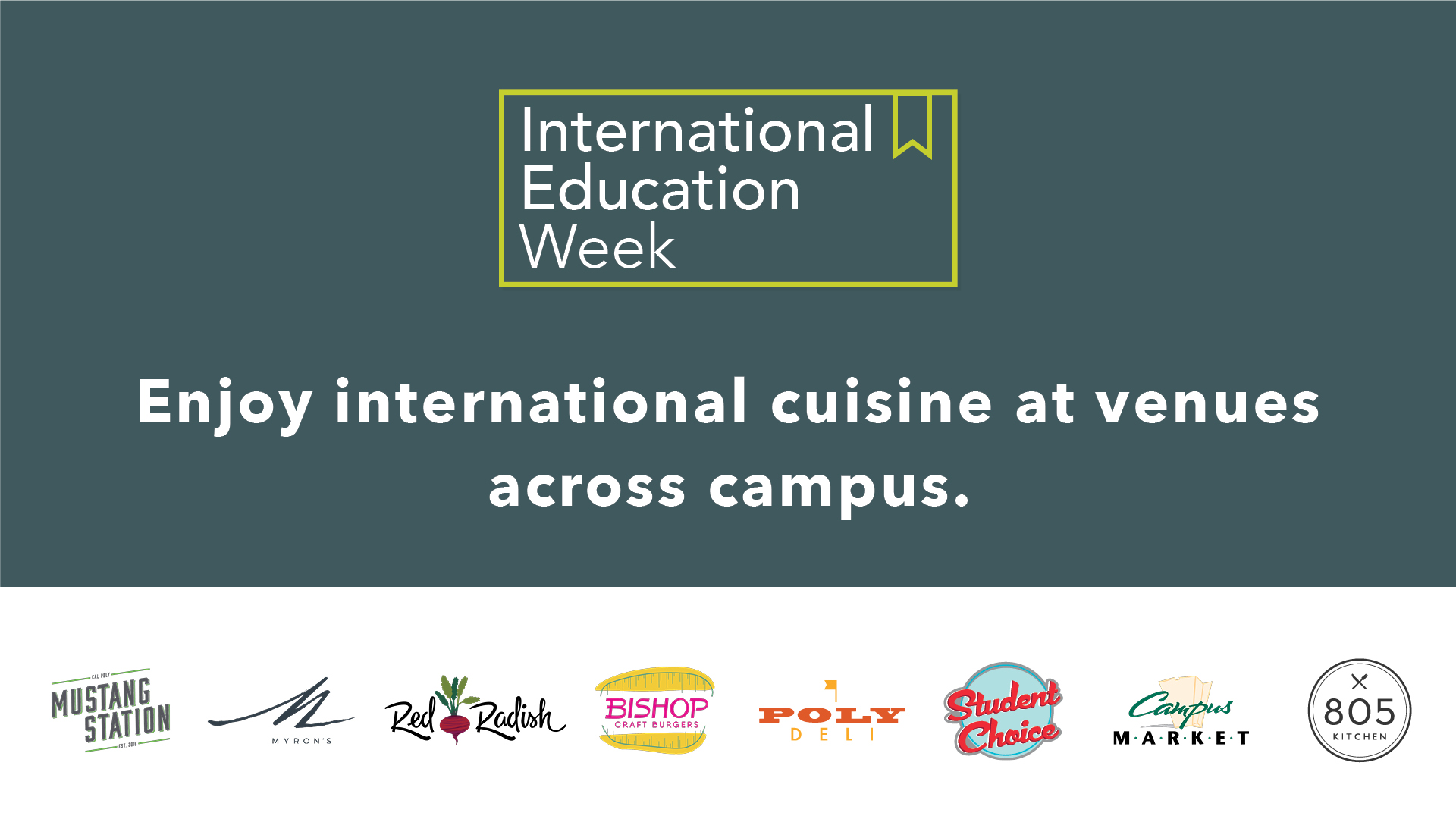 Enjoy international cuisine at venues across campus, with icons of different campus restaurants.