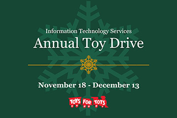 Illustration of a snowflake with text reading Information Technology Services Annual Toy Drive, November 18-December 13