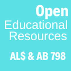 Blue graphic reading Open Educational Resources AL$ and AB798