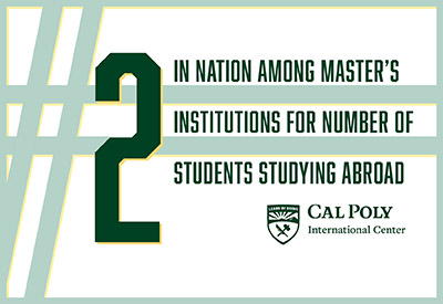 #2 in nation among master's institutions for number of students studying abroad