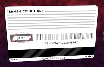 Illustration of the back of a gift card reading terms and conditions ... with a bar code number