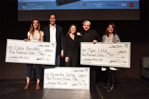 Photo showing the winners of the Elevator Pitch Competition