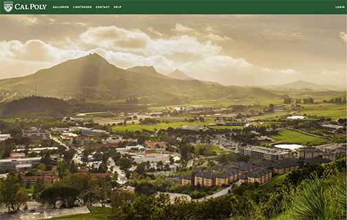 Screenshot of Cal Poly's photo library home page with arial photo of the campus and Bishop Peak.