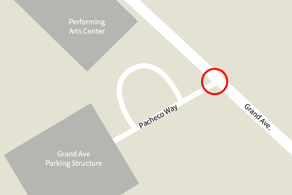 Map showing the location of Grand Avenue and Pacheco Way on the Cal Poly campus, where a new stoplight will be installed.