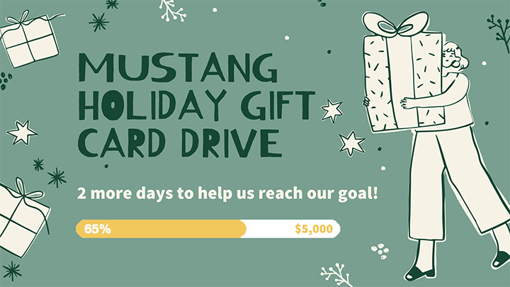 Green text reading Mustang Holiday Card Drive, 2 more days to help us reach our goal, showing 65% reached!