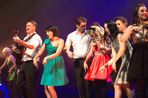 Promotional photo from Celtic Nights performance of Oceans of Hope featuring several dancers