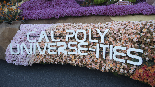 Float letters spell Cal Poly Universe-Ities