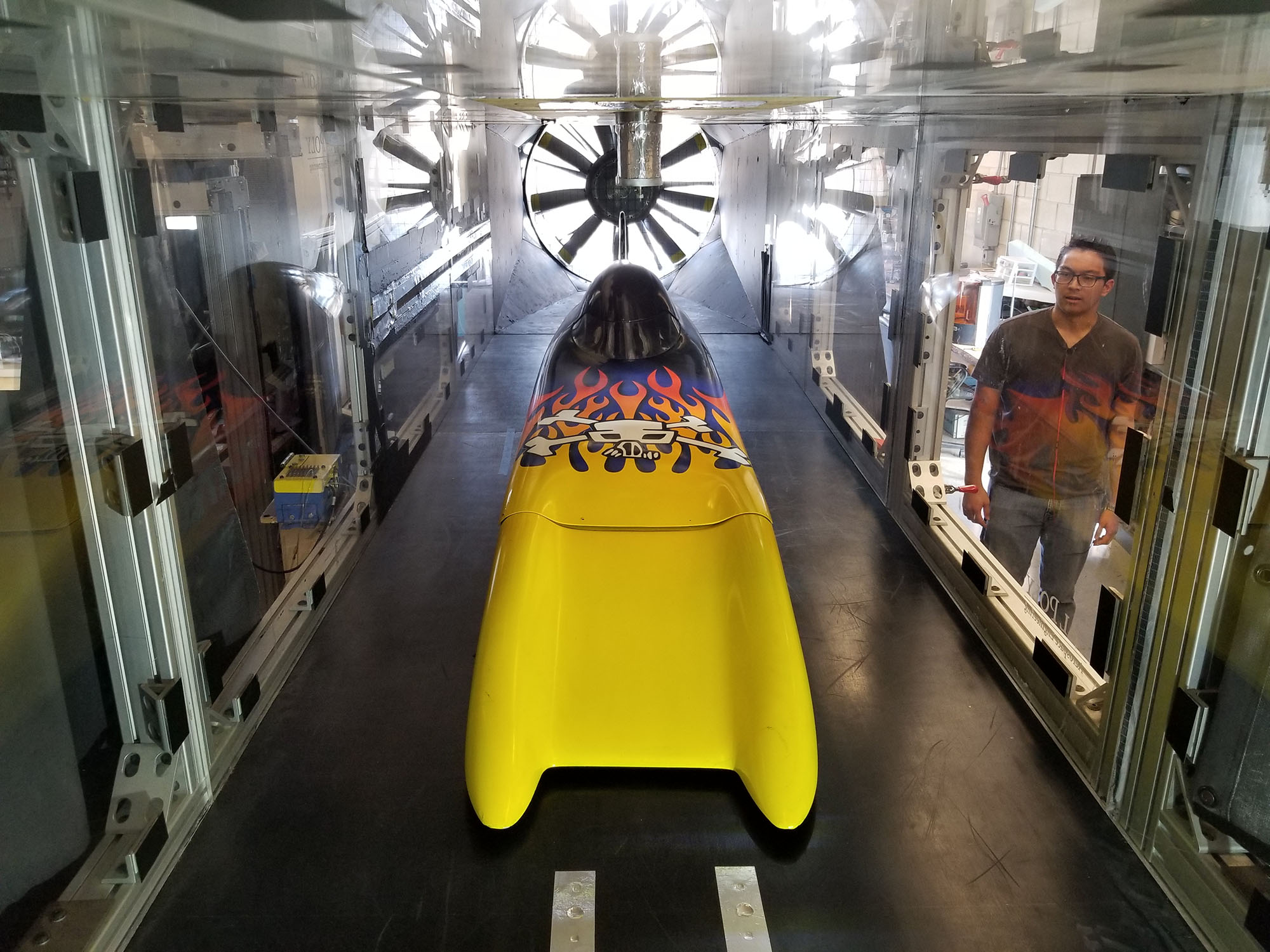 "Student engineers wind-tunnel-testing ""The Challenger,"" a record-breaking vehicle designed by legend Don Baumea. Photo Courtesy PROVE Lab."