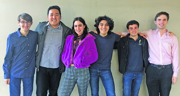 From left to right, Grant Smith, Victor Wei, Laila Zaidi, Clay X. Froelich, Justin Privitera and Nico Borst