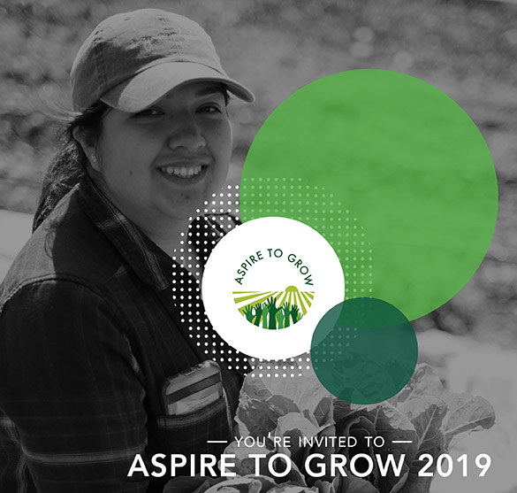 Photo of a smiling woman holding lettuce with the Aspire to Grow conference logo