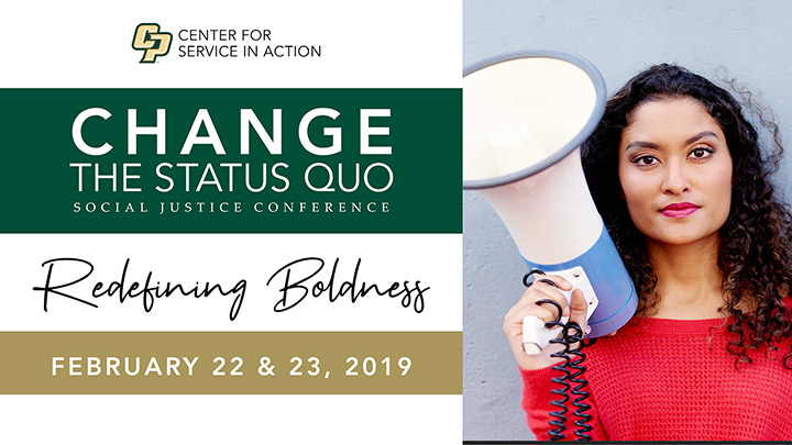 Banner ad for Change the Status Quo Social Justice Conference, including a photo of a woman with a megaphone