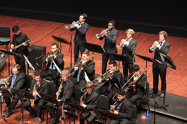 Photo of members of the University Jazz Bands at a previous performance.